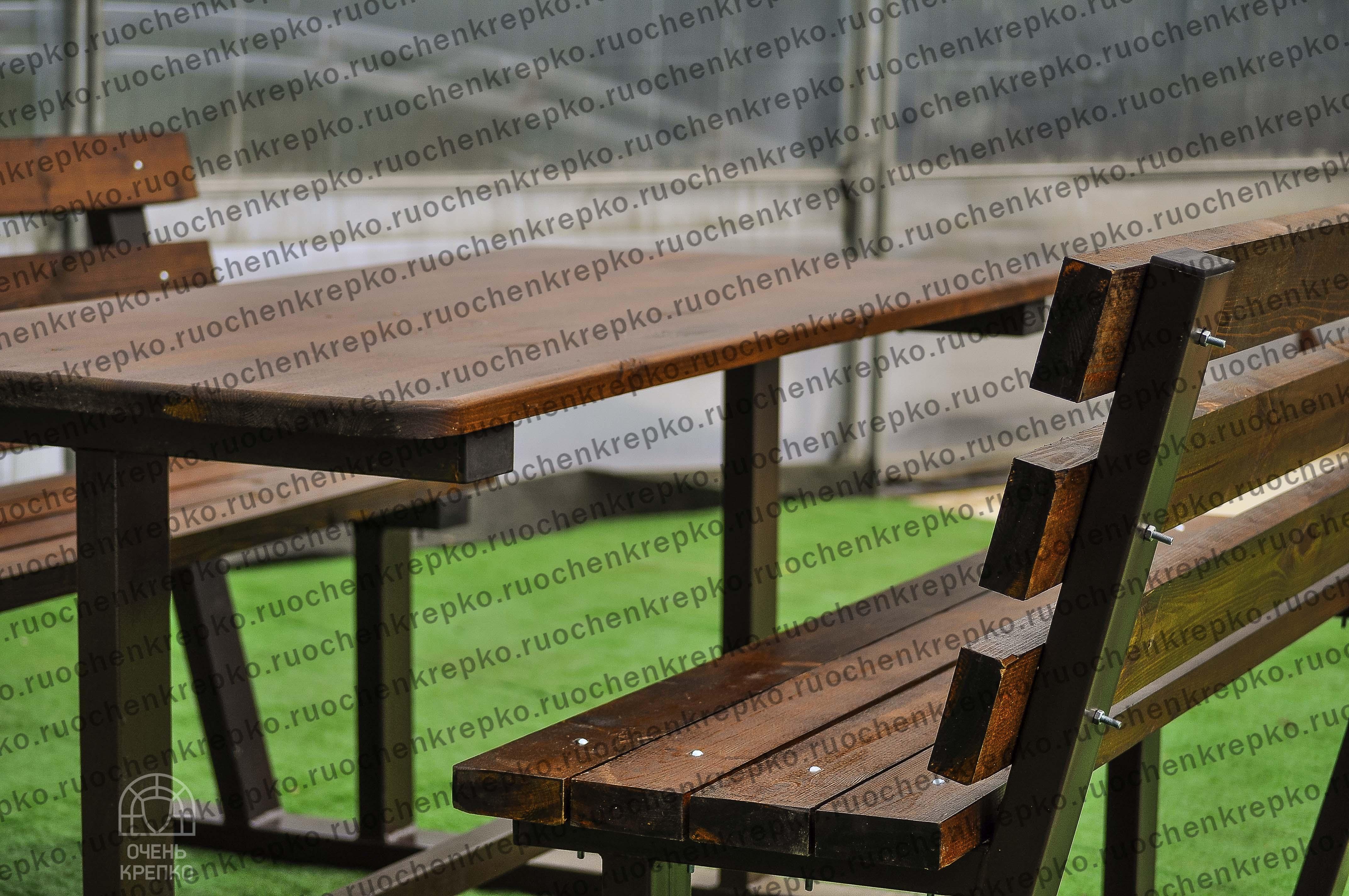 Стол Богатырь с 2 скамейками на дачу